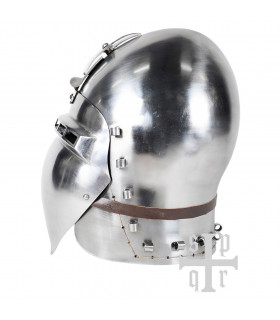 Functional medieval bastion in steel with German visor, 14th century.