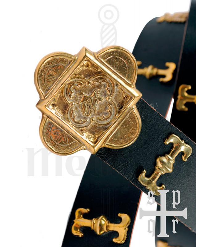 Medieval San Jorge belt in black leather