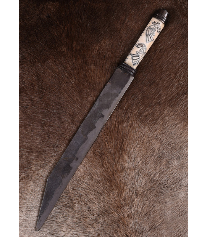 Seax or long Viking knife with decorated bone handle