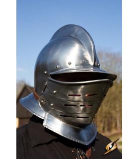 Burgundy helmet with polished steel visor, Epic Armory