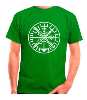 Green Vegvísir Vikings T-shirt, short sleeve