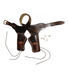 Leather cartridge belt for 2 revolvers 24 bullets
