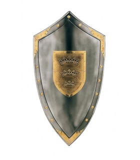 Shield with three crowns in the center and tacks around