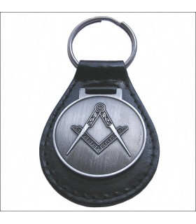 Masonic leather key ring