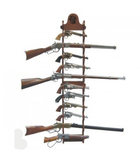 Display of 12 guns hanging on wall
