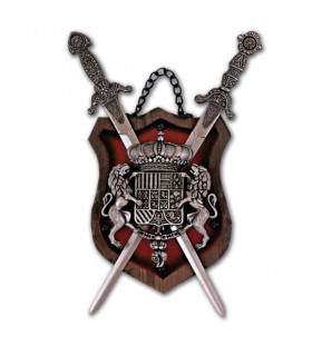 Coat of Arms 2 wooden swords on red background (28x14 cm)