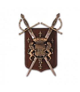 Coat of Arms with 2 swords on walnut ceiling (28x20 cm)