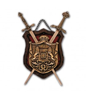 Coat of Arms 2 wooden swords on red background (39x20 cm)