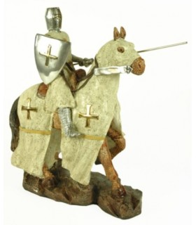 Templar Knight with spear and shield riding (35 cms.)