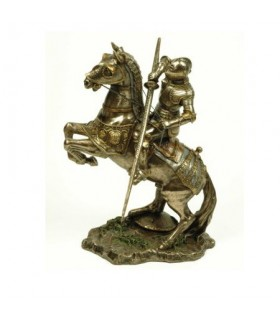 Medieval knight on horseback fighting, 25 cms.