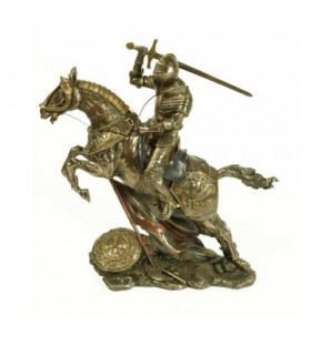 Medieval knight on horseback fighting, 28 cms.