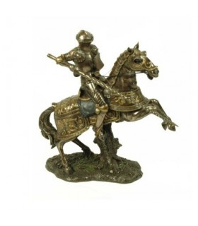 Medieval knight on horseback fighting, 27 cms.