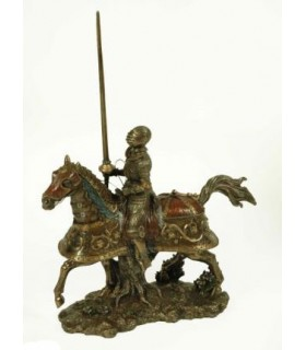 Medieval knight on horseback, 35 cms.