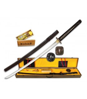 Carbon Steel Katana + case + box + 2 + tsubas cleaning kit