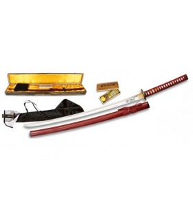 Carbon Steel Katana + case + box + 2 + tsubas cleaning kit