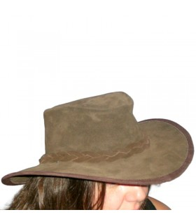 Brown split suede hat