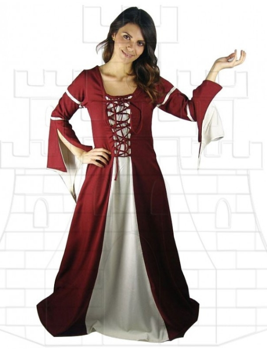 Vestido medieval mujer Rojo Crema - Medieval costumes and accessories