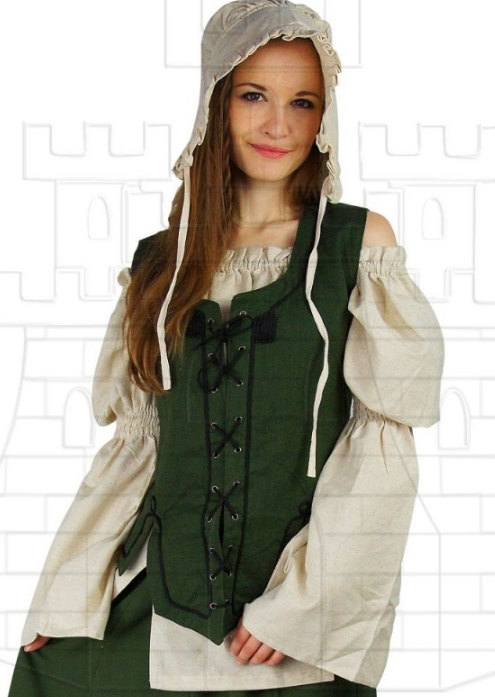 Chaleco medieval mujer color verde - Medieval clothing for Women, Men and Kids